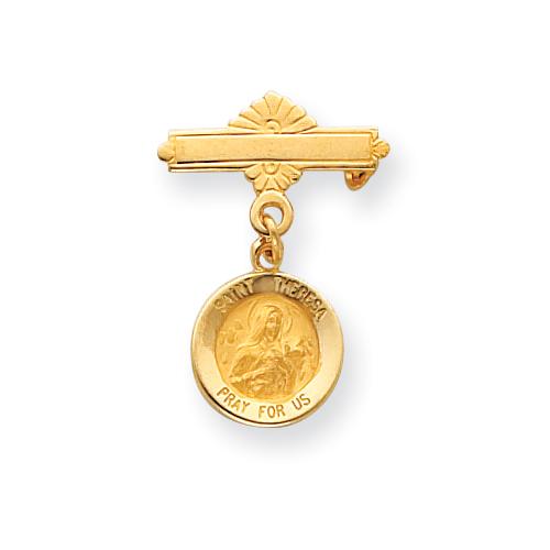 14k 1in Saint Theresa Medal Pin