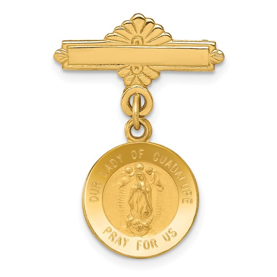 14k Yellow Gold 1in Our Lady of Guadalupe Medal Pin