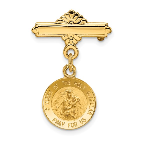 14k Yellow Gold 1in Reversible Queen of the Holy Scapular Medal Pin