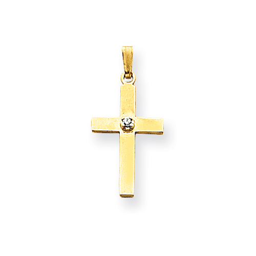 14kt 11/16in Polished .01ct. Diamond Cross Pendant