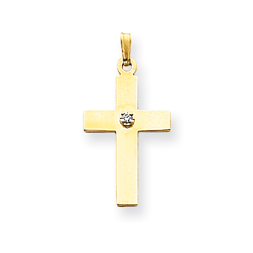 14kt Yellow 3/4in Cross Pendant with Diamond Accent