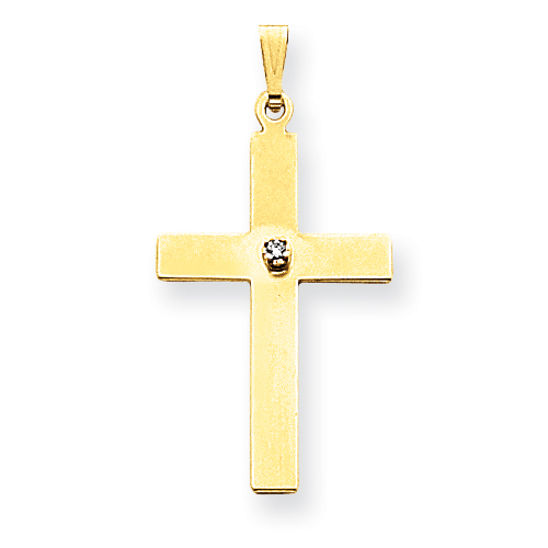 14kt 1 1/16in Polished .02ct. Diamond Cross Pendant