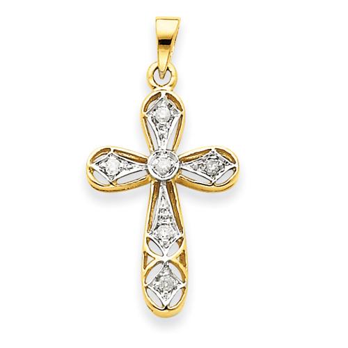 14kt Yellow Gold and Rhodium 7/8in Diamond Cross Pendant