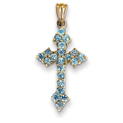 14kt 7/8in Blue Topaz Cross Pendant