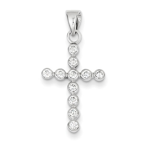 14kt White Gold 13/16in CZ Cross Pendant