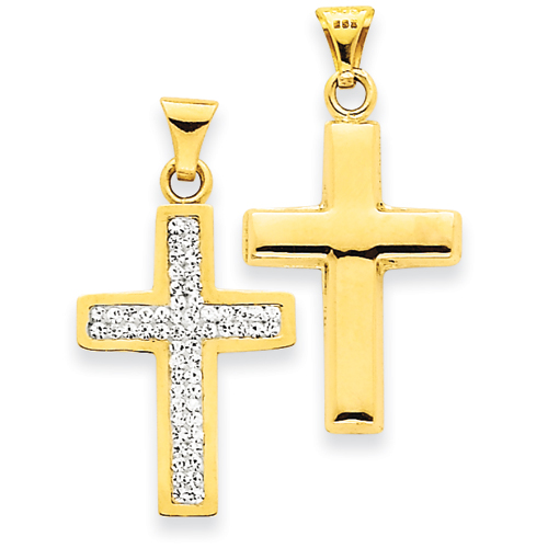 14kt Reversible 3/4in Crystal Latin Cross Pendant