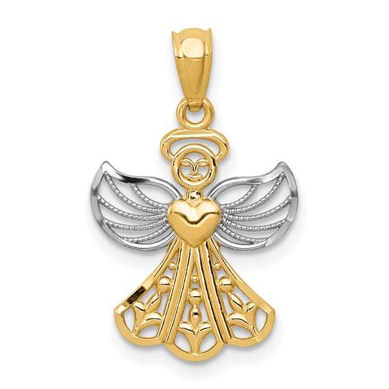 14kt Yellow Gold & Rhodium 5/8in Filigree Angel Pendant