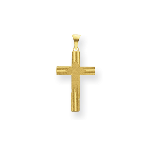 14k Yellow Gold Laser Etched Latin Cross 5/8in
