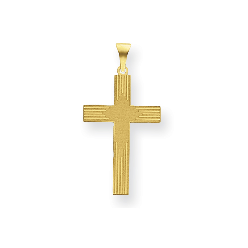 14k Yellow Gold Laser Etched Latin Cross 3/4in
