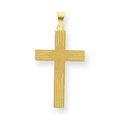 14k Yellow Gold Laser Etched Latin Cross 1in