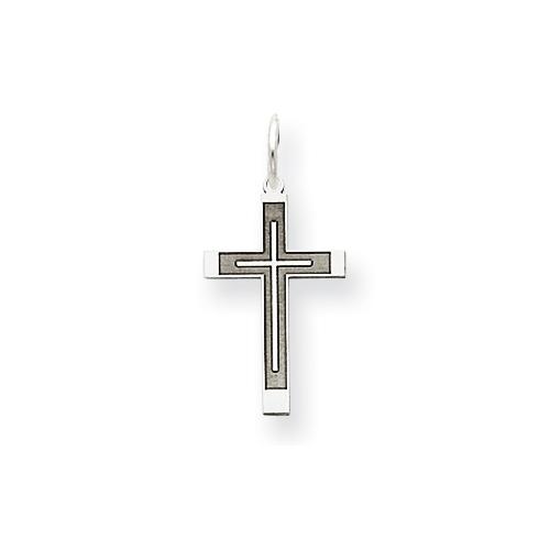 14kt White Gold 5/8in Laser Designed Latin Cross Charm
