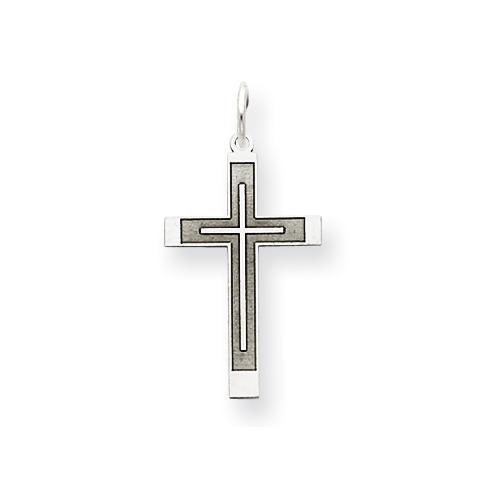 14k White Gold Laser Designed Latin Cross Pendant 3/4in