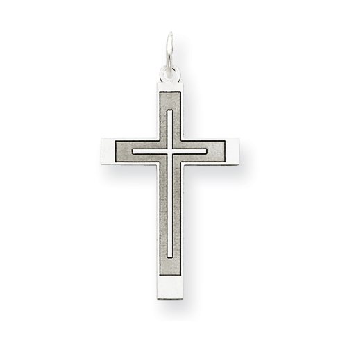 14k White Gold Laser Designed Latin Cross Pendant 1in