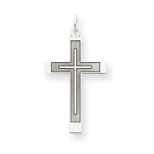 14kt White Gold 1in Laser Designed Latin Cross Pendant