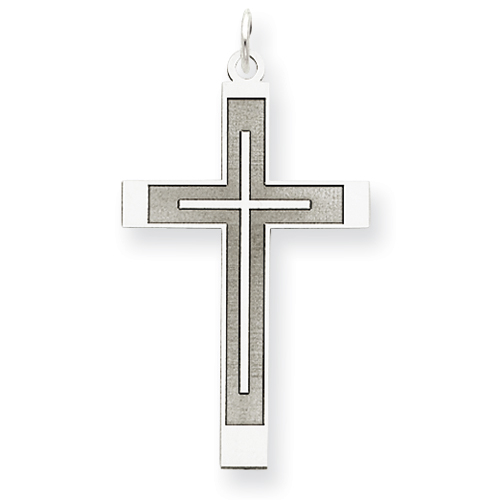14k White Gold Laser Designed Latin Cross Pendant 1 1/4in