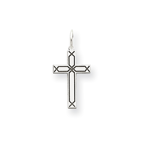 14k White Gold Cross Pendant with Laser Etched Twill Design 5/8in