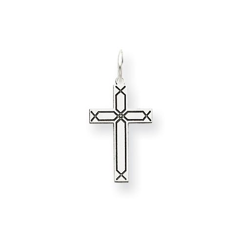 14kt White Gold 21/32in Laser Design Cross