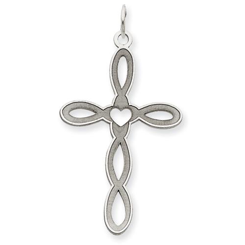 14kt White Gold 1 1/4in Laser Designed Cross Pendant