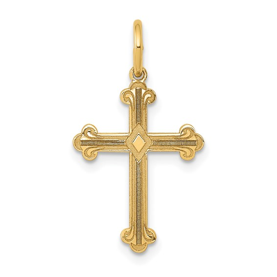 14kt Yellow Gold 5/8in Laser Etched Budded Cross
