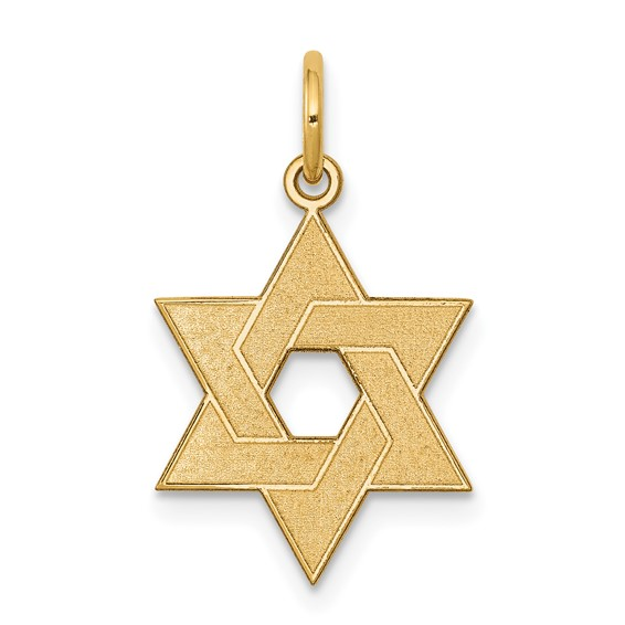 14k Yellow Gold 5/8in Laser Designed Star of David Charm