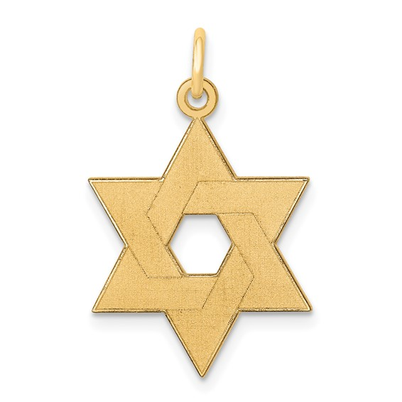 14kt Yellow Gold 3/4in Laser Designed Star of David Pendant
