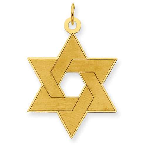 14k Yellow Gold Laser Designed Star of David Pendant 1in