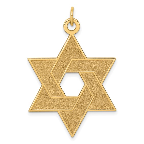 14kt Gold 1 1/4in Laser Designed Star of David Pendant