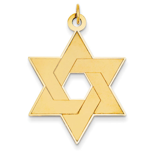 14kt 1 1/4in Laser Designed Star of David Pendant