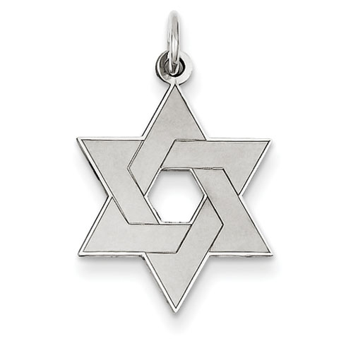 14kt White Gold 3/4in Laser Designed Star of David Pendant