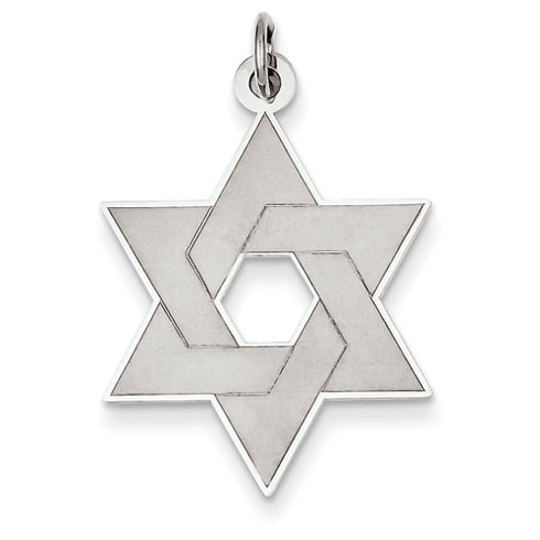 14kt White Gold 15/16in Laser Designed Star of David Pendant