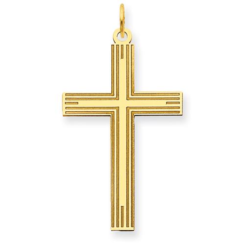 14kt Yellow Gold 1in Laser Designed Cross Pendant
