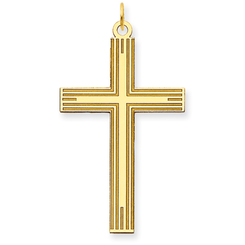 14kt Yellow Gold 1 1/4in Laser Designed Cross Pendant