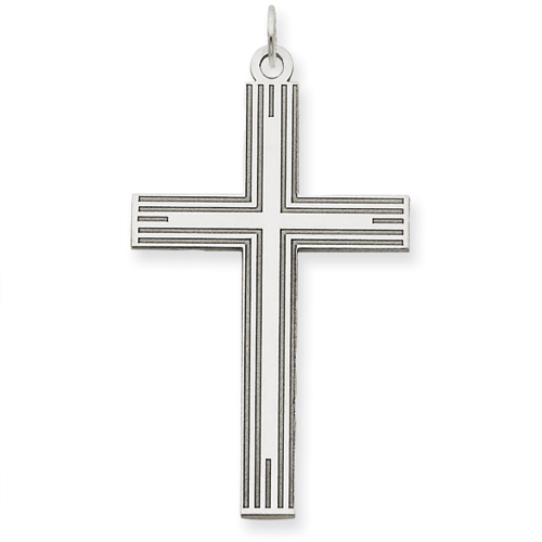 14k White Gold Laser Etched Latin Cross Pendant 1 1/4in