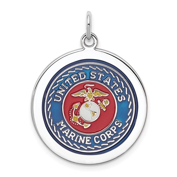 Sterling Silver 7/8in USMC Enamel Disc Charm