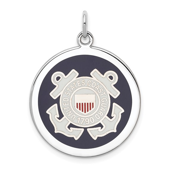 Sterling Silver U.S. Coast Guard Disc Charm 7/8in