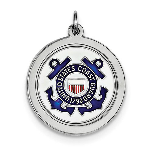 Sterling Silver 7/8in U.S. Coast Guard Disc Charm