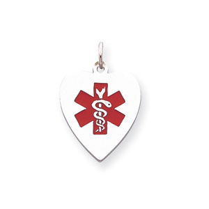 Heart Medical Charm 11/16in - Sterling Silver
