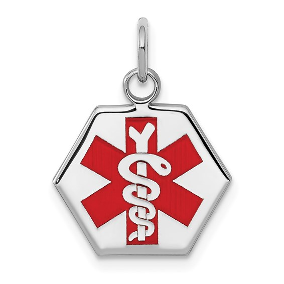 Sterling Silver 1/2in Hexagonal Medical Pendant