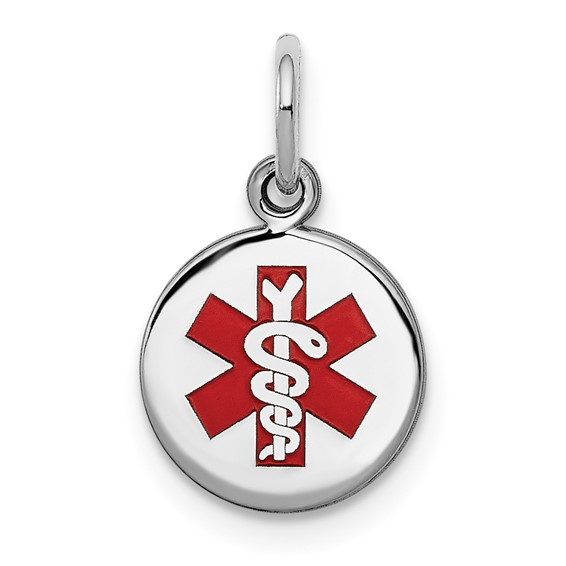 Sterling Silver 3/8in Round Enamel Medical Charm