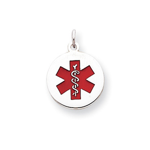 Sterling Silver Round Enameled Medical Charm 5/8in