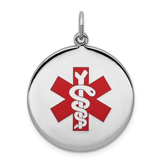 Sterling Silver Round Medical Pendant 3/4in
