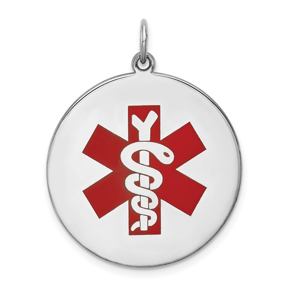 Sterling Silver Round Enamel Medical Pendant 1in
