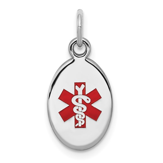 Oval Medical Charm 1/2in - Sterling Silver