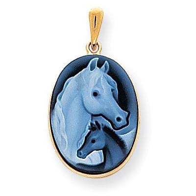 14kt Gold Horse & Pony Profile Cameo Pendant