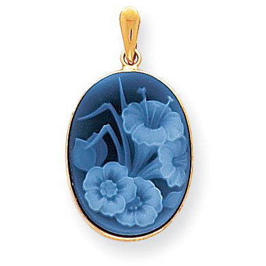 14kt Yellow Gold 3/4in Floral Cameo