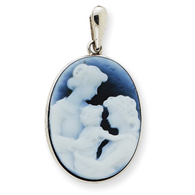 14kt White Gold Three Generations Blue Agate Cameo Pendant