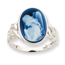 14kt White Gold Guardian Angel Cameo Ring
