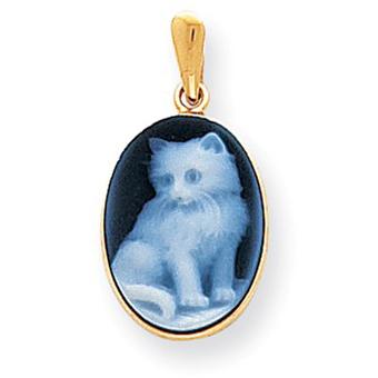 14kt Gold Kitten Cameo Pendant