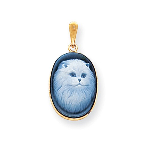 14kt Gold Persian Cat Cameo Pendant