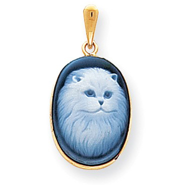 14kt Yellow Gold Persian Cat Cameo Pendant